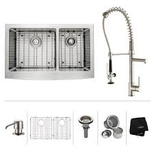 kraus all in one farmhouse apron front stainless steel 33 in