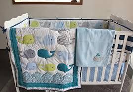 Crib Bedding Set With Bumper New Baby Boy Ocean Whale 8pcs Crib Bedding Set With Bumper