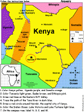 geographical map of kenya kenya africa enchantedlearning