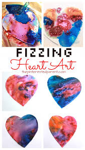 fizzing baking soda and vinegar heart paint eruptions science and