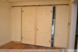Diy Bypass Barn Door Hardware by Rolling Barn Style Doors U2013 Inexpensive Hardware For Under 60