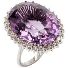 amethyst engagement rings large amethyst diamond white gold cocktail ring for sale at 1stdibs