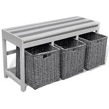white storage u0026 entryway bench with cushion top 3 basket www