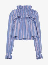 striped blouse marni striped blouse with high neck and ruffles blouses browns