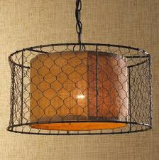Burlap Chandelier Shades Chicken Wire With Burlap Drum Pendant Pendant Lighting Shades