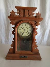 c antique waterbury gingerbread kitchen clock w key u0026 pendulum