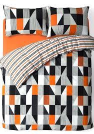 black grey orange trendy striped design reversible bedding duvet