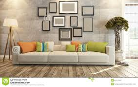 interior design with frames on concrete wall 3d rendering stock