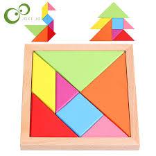 tangram puzzle kids children wooden educational 7 pieces geometric tangram puzzle