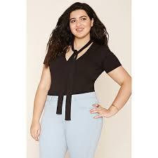 Plus Size Bodysuit Blouse Forever 21 Plus Women U0027s Plus Size Front Tie Bodysuit 18