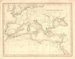 Map Of Mediterranean Sea Antique Maps Of The Mediterranean