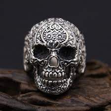 mens rings skull images 2018 cool 925 sterling silver skull ring men ring punk rock mens jpg