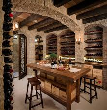 stylish small home wine bar with under stair storage also brick