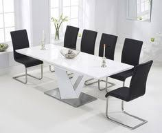 White Gloss Dining Table And Chairs Palma Extending Dining Table In High Gloss With 6 Taupe Chairs