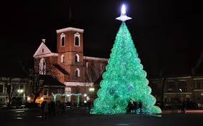 a giant christmas tree made of old sprite bottles