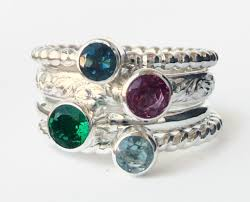 stacked birthstone rings faceted birthstone gemstone sterling silver stackable rings