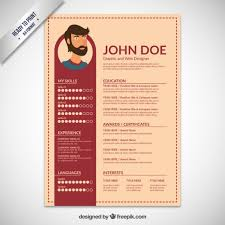 Resume Format For Web Designer Resume Template Flat Design Vector Free Download