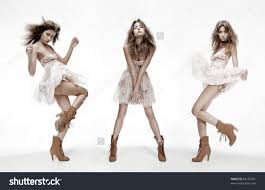 image of stock photo image of the same fashion model in different