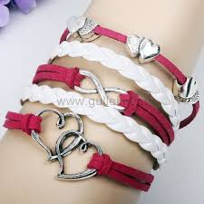 girls leather bracelet images Hearts infinity sign friendship leather bracelet for girls jpg
