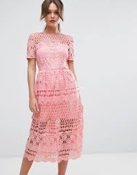 pink dresses boohoo corded lace paneled skater dress pink dresses popsugar