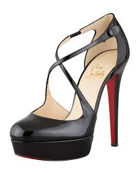 christian louboutin womens borghese patent platform red sole pump