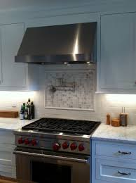 Kitchen Pot Filler Faucets Home Design Captivating Backsplash Behind Stove With Range Hood