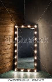 mirror with light bulbs long dressing mirror light bulbs stands stock photo royalty free