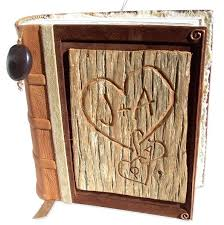 post bound photo album leather bound scrapbook carved tree bark scrapbook album leather