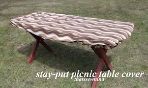 Make Your Own Picnic Table Bench by Thatssewnina Great Idea A Stay Put Picnic Table Cover