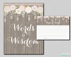 words of wisdom cards for bridal shower advice jar etsy