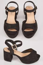 Platform Heels Comfort Black Comfort Insole Platform Sandals With Block Heel In Eee Fit