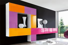 Purple And Orange Bedroom Modern High Gloss Unico Wall Storage System In Pink Orange