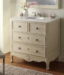 Dresser Style Bathroom Vanity by 34 Inch Bathroom Vanity Coastal Vintage Style Distressed Cream 34
