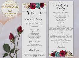 beautiful wedding programs etsy wedding program template beautiful wedding program template