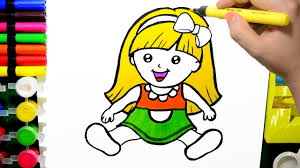 draw color paint cute baby doll coloring learn
