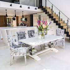 serge living refectory marble dining table with 6 or 8 silver