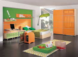 bedroom colors for kids with awesome orange cabinet and nice green