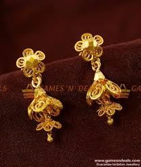 buy online rings images Er425 guarantee double jumkhi gold like design ear ring buy online jpg