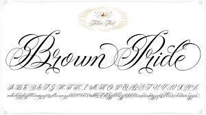 brown pride tattoo lettering stock vector image 73811685