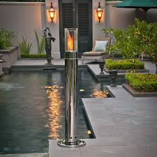 Patio Torch Lights by Outdoor Lighting Design With Chrome Lit High Pillar Torch Fire By