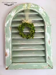 vintage gable vent farm house rustic chippy green paint