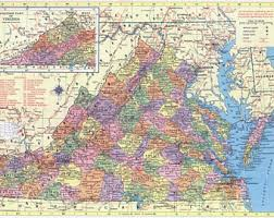 virginia map vintage virginia map etsy