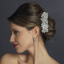 hair accessories for prom silver swarovski rhinestone barrette bridal