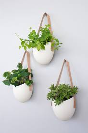 modern hanging planters set of 3 spora w leather porcelain hanging planters within wall