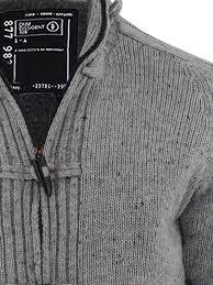 mens cardigan jumper dissident lothian sherpa fleece lined zip up