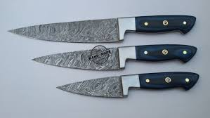 damascus steel kitchen knives lot of 3 pcs damascus kitchen chef s knife custom handmade knife