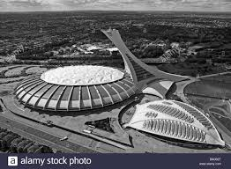 aerial view above olympic stadium and biodome montreal quebec