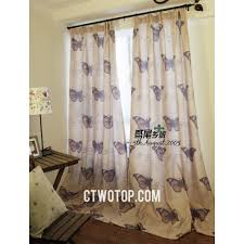 burlap country living room soundproof metal hook butterfly curtains