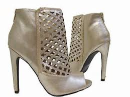 s qupid boots qupid black pewter gold peep toe stiletto heels ankle boots