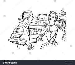 retro martini clip art european vacation couple on patio retro stock vector 59871686